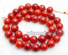 "SALE Big 9-10mm round Red natural Coral loose beads strand 15""-los33"