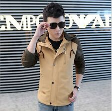 Mens basic jacket hooded zipper cotton causal  outwear slim fit trench coat