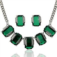 Silver plated pendant Crystal necklace earrings bridal jewelry Sets for women