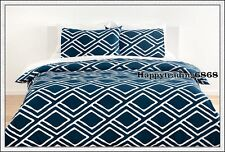 Navy Blue White Stylish Print Soft * QUEEN DOUBLE SINGLE QUILT DOONA COVER SET