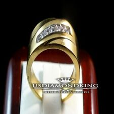 MEN LADIES 14K YELLOW GOLD FINISH PRINCESS CUT WEDDING BAND RING STAINLESS STEEL