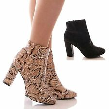 LADIES WOMENS SNAKE ANKLE BOOTS BLOCK HEEL SNAKESKIN SHORT HIGH HEEL SHOES SIZE