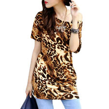 Woman Printed Scoop Neck Ruched Sides Short Sleeves Tunic Top