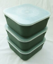 MDI Match Fishing 2 Pint Green Maggot Bait Boxes + Lids 3 Pack -Sz 6.5x6,5x2.75""