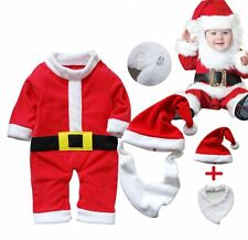 Baby Boy Girl Christmas Santa Claus Costume Dress Outfit+HAT Set NEWBORN 0-12M