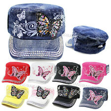 BUTTERFLY Rhinestone Glitter Cadet Hat Women Bling Adjustable Castro Cap