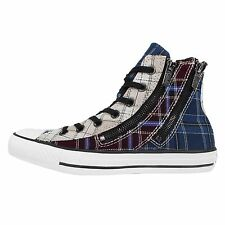 Converse Chuck Taylor All Star Dual Zip Plaid Blue Womens Casual Shoes 549575C