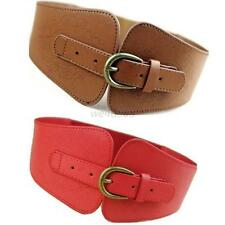 New Ladies Western Fashion Belt Wide Metal Conch Buckle PU Leather Waistband Hot