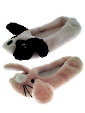 Kids Girls 3D Novelty Plush Animal Slippers Ballet Pumps Mules Shoes Size UK 9-3