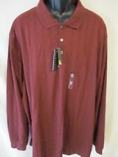 Van Heusen Cotton Blend Big Tall Red Rosewood Grid Long Slve Polo SR$60 NEW