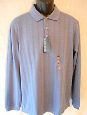 Van Heusen Cotton Blend Long Sleeve Grid Polo SR$54 NEW