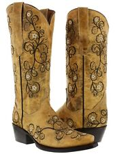 Womens Distresssed Sand Western Leather Cowboy Cowgirl Embroidered Boots Snip