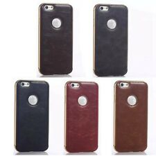 Crazy Horse PU Leather Back Cover Metal Frame Phone Case Skin for iPhone Samsung