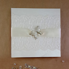 pocket wedding invitation lace & butterfly trimmed (Christine)