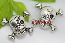 6/20/100pcs Tibetan Silver two-sided Pirates Skull Charms Spacer Beads 15x13mm