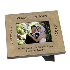 Parents of the Bride Wooden Photo Frame 7x5 Personalised Engraved Wedding Gift
