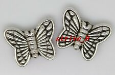 15/60/300pcs Tibetan Silver two-sided Butterfly Charms Spacer Beads DIY 11x9mm