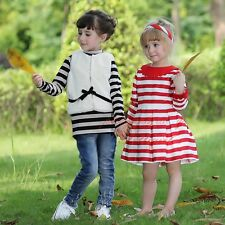 2Pcs Girls Clothing Striped Sweater and Fur Waistcoat Set Winter Casual Outfits