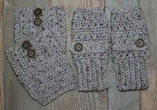 Handmade Crochet Gray Marble Fingerless Gloves Handwarmers & Boot Cuffs Set