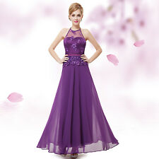 Women's Halter Purple Long Party Prom Evening Formal Dress 08353 US Seller