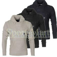 Mens Soulstar Shawl Neck Cable Knitted Jumper Long Sleeve Pullover Sweater Size