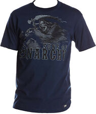Sons Of Anarchy SOA Men's T-Shirt Reaper On A Motorcycle Navy Blue S-XL