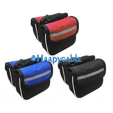 New Bike Bicycle Cycling Mountain Frame Front Tube Double Pannier Bag Side Pouch