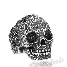 316L Stainless Steel Fashion Men Punk Floral Skull Ring Jewelry US Size 7-13 New