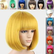 Lot Colors Women Full Bangs Short Straight Wig BOBO Cosplay Party Full Wigs Hot