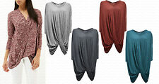 Womens Ladies NEW Celeb Fold Wrap Knot Long Oversized Baggy Loose Tunic Top