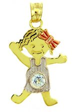 Fine Three Tone Gold April Birthstone Crystal Clear CZ Baby Girl Charm Pendant
