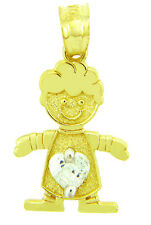 Yellow Gold April Birthstone Crystal Clear Heart CZ Baby Boy Charm Pendant