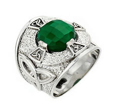 925 Sterling Silver Trinity Knot Band Men's Celtic Ring with Green Agate