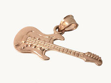 Solid Rose Gold Electric Guitar Pendant Musical Instrument Rock n Roll