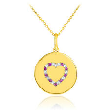 14k Yellow Gold Heart Diamond and Ruby Disc Pendant Necklace