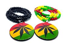 Wooden Round Pendant Marijuana Weed Leaf Beads Chain Multi-Color Necklace