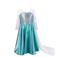 Kids Girls Snowflakes Elsa Princess Frozen Dress Sequins Costume Halloween Party