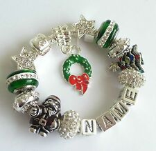 Personalise XMAS Charm Bracelet Ladies Girls ANY NAME Red Green Silver Gift Box