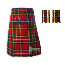MENS SCOTTISH TARTAN DELUXE 8YD KILT & FLASHES SET - STEWART ROYAL - SIZES!