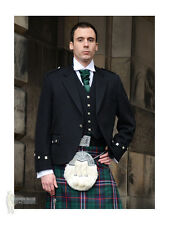 ARGYLE (ARGYLL) SCOTTISH KILT JACKET - BLACK - 100% WOOL - CHEST 48""