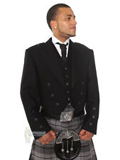 PRINCE CHARLIE SCOTTISH WOOL KILT JACKET & VEST - BLACK BUTTONS - CHEST 56""