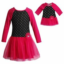 Girl 4-14 and Doll Matching Pink Black Heart Valentine's Dress fit American Girl