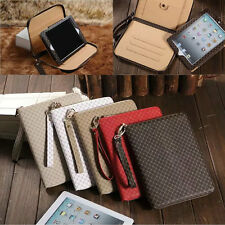 Luxury Zippered Hand Strap Card Slots Case Stand Cover Pouch for iPad Air Mini
