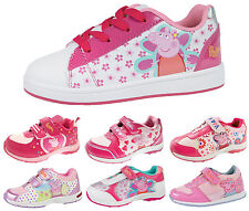 Girls Peppa Pig Pink Glitter Trainers Adjustable Straps Flat Sports Shoes Kids