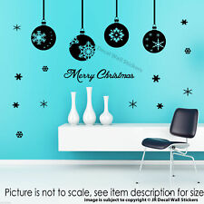 Merry Christmas Tree Baubles Wall Sticker snowflake Xmas Shop Window Decal Decor