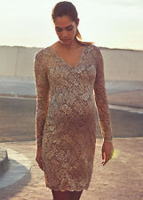 NEW - Queen mum - Beautiful Lace Evening Dress in Taupe - Maternity Dress