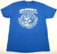 GRATEFUL DEAD T-shirt Licensed Retro Skull Roses Tee Heather Blue Mens SMALL New