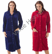 Ladies Flannel Fleece Full Buttoned Dressing Gown Robe NavyBlue Red Shawl Collar