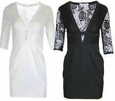 W13 NEW WOMENS PLUNGE V NECK CUT OUT PARTY BODYCON LACE MESH DRESS.