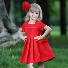 Flower Christmas Birthday Party Girls Dress Toddler Bow Wedding Holiday Dresses